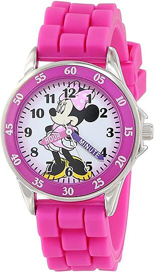 4. Minnie Mouse Kids Analog Watch with Silver-Tone Casing