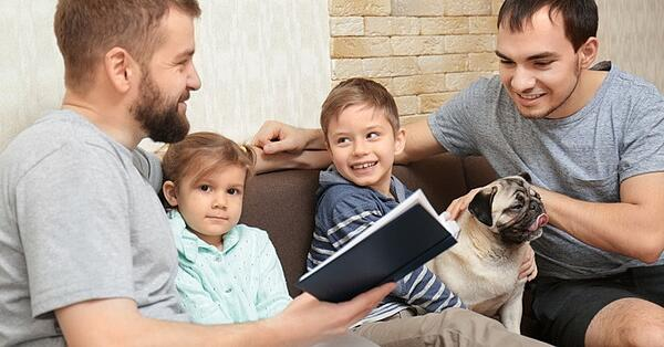 gay bi and trans family with dog